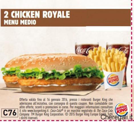 Coupon da Stampare Burger King Validi Fino al 16 Gennaio