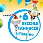 6 decora cannucce in cartone omaggio Kinder Cioccolato